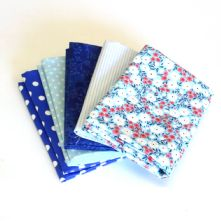 Pack of 5 100% Cotton Mixed Prints Blues Fat Quarters